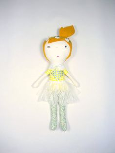 Handmade fabric doll with strawberry blonde hair, soft toy with embroidery by ohbAbyseattle on Etsy