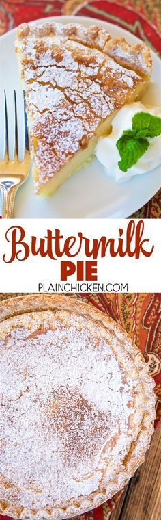 Buttermilk Pie - so simple, yet so AMAZING! Perfect ending to your holiday meal! Can make ahead of time and refrigerate until ready to serve. Eggs, sugar, flour, buttermilk, vanilla, butter, cinnamon-sugar.
