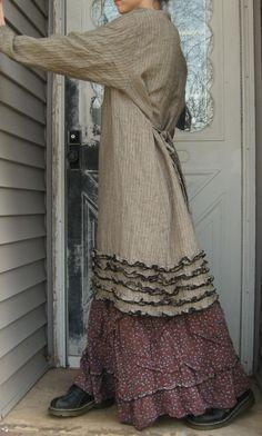 Stripe Linen Miniruffle Tunic Dress L by sarahclemensclothing, $149.00