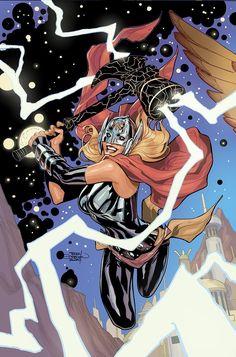 Marvel Comics Art, Marvel Heroes, Marvel Characters, Comic Book Artists, Comic Artist, Female Thor, The Mighty Thor, Disney Marvel, Comic Character