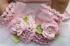 Pink Cotton Rose Crochet Baby Booties  4 Sizes by MyMayaMade, $19.99 - how cute are THESE!