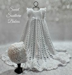 Baptism Dress - Snow White with White ribbon - Bonnet - Newborn to 9 months by SweetSouthernBabies on Etsy