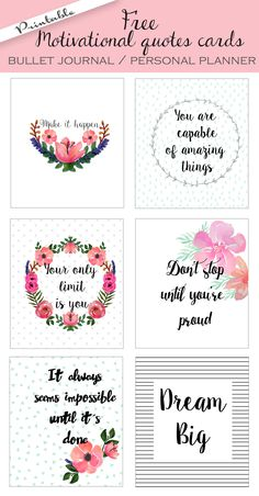 FREE printable bullet journal cards. Personal planner cards. Motivational…