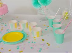 Ice Cream Party!  Mint, Yellow, Pink, Purple and Blue. Party in a box, one purchase, quick set up and all of a sudden, you have a 'PartyMade' that is Pinterest worthy! Ice Cream Tubs, Ice Cream Party, Party In A Box, For Your Party, 1st Birthday Banners, Birthday Parties, Blue Party, Pinwheels, Paper Goods
