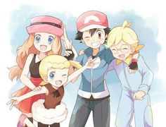 Ash and his Kalos friends #Diodeshipping ^.^ ♡ Credits to whoever made this fan art
