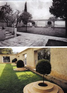Top photo by Man Ray. Photo below by Jacques Dirand. Villa Noailles, Hyères, designed by Robert Mallet-Stevens in 1923.  A formal lawn, the site of games of boules, is framed by topiaries and the walls of the swimming pool, then and now.