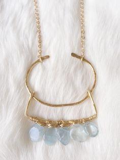 Hammered Brass Necklace - Aquamarine Necklace - Natural Stone Necklace - Aquamarine Pendant - Brass Pendant - Hammered Jewelry