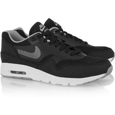 Nike Air Max 1 Ultra Essentials leather and mesh sneakers (190 CAD) ❤ liked on Polyvore featuring shoes, nike, light weight shoes, leather lace up shoes, leather shoes, lightweight shoes and genuine leather shoes