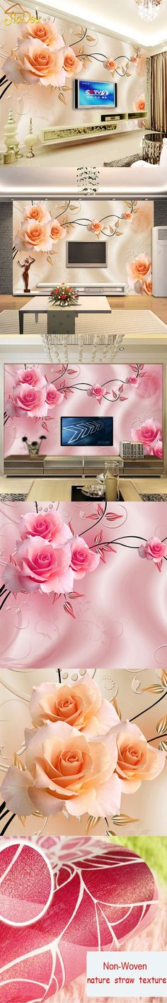 Custom Photo Murals Wallpaper Luxury Villas TV Backdrop Papel De Parede 3D Wallpaper For Walls Warm Rose Wall Paper Home Decor $30.6