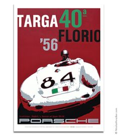 Porsche 550A - '56 Targa Florio - Poster • Based on an original painting by…