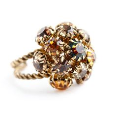 Vintage Brown Rhinestone Ring - Adjustable Gold Tone Austrain Costume Jewelry / Golden Amber Cluster