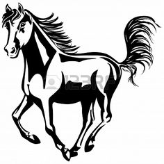 The horse is running  Black-and-white drawing  Silhouette  Stock Photo - 22867444