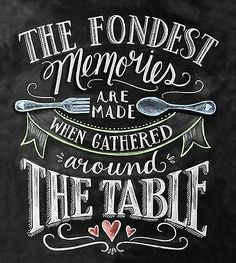 """""""THE FONDEST MEMORIES ARE MADE WHEN GATHERED AROUND THE TABLE!"""""""