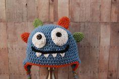 Happy Monster Hat  Baby Boy Hat  Crochet Boys Hat by CatilyCrochet, $17.00