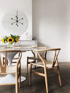 Tulip Dining Table, Wooden Table And Chairs, Dining Table Chairs, A Table, Dining Area, Dining Room, Knoll Table, Henley Homes, Round Chair