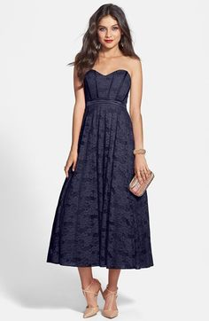 Hailey by Adrianna Papell Strapless Glitter Lace Party Dress available at #Nordstrom