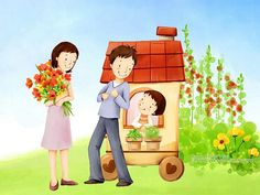 Lovely_illustration_of_Happy_family_with_flowers_wallcoo_com