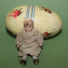 """bisque doll house doll, wire jointed, 3 1/2"""" high"""