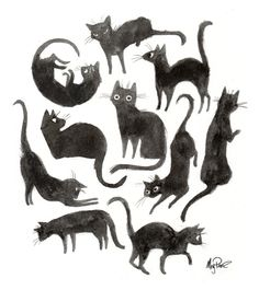 kitty funny cute Black and White Halloween draw watercolor ink gato goth luck acuarela blanco y negro black cats dibujo tinta suerte gatos negros Cat Design, Animal Design, Graphic Design, Art And Illustration, Cat Illustrations, Crazy Cats, Art Reference, Character Design, Cat Character