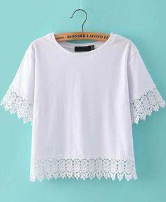 White Short Sleeve Floral Crochet Crop T-shirt 9.99
