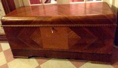 "Vintage Art Deco ""lane"" Waterfall Walnut Cedar Chest With Lined Tray And Key"