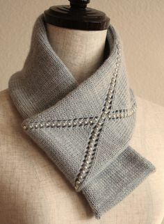 Free Knitting Pattern for Jeweled X Infinity Scarf - This long cowl features a beaded eyelet X. Designed by Sachiko Uemura.