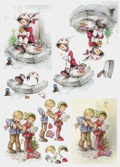 hummel et les siens - Dominique M - Picasa Webalbums Christmas Sheets, 3d Christmas, Christmas Gift Tags, Vintage Christmas Cards, Image 3d, Decoupage Printables, Christmas Decoupage, 3d Sheets, Free Printable Cards
