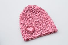 Two-color Knit Hat With Little Crochet Heart,Cute Beanie,Hand knitted Winter…