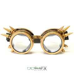 FREE SHIPPING GloFX Brass Spike Steampunk Goggles Rave Welding Cyber Punk Goth Dieselpunk Glasses