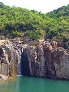 cliff jumping in Sai Wan in Hong Kong.