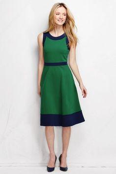 Women's Ponté Pieced A-line Dress - Colorblock