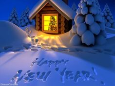 Happy New Year! nouvel an reveillon bonne annee hiver neige chalet. - Happy New Year 2019 Happy New Year Status, Happy New Year Funny, Happy New Year 2014, Happy New Year Cards, Happy New Year Wishes, New Year Greeting Cards, New Year Greetings, Merry Christmas And Happy New Year, Year 2016