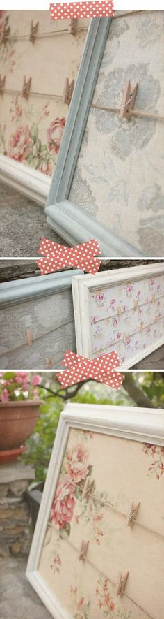 Reuse old frames. From Shabby Chic Interiors Home Crafts, Fun Crafts, Diy And Crafts, Crafts With Fabric, Diy Projects To Try, Craft Projects, Craft Ideas, Ideas Paso A Paso, Decoration Shabby