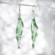 Hand blown glass Green earrings Boho Transparent Dangle long