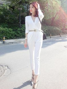 New Arrival V-neck Long Sleeve Jumpsuit With Belt