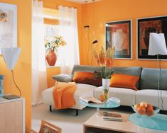 What Color Curtains Go with Orange Walls Living Room Decor Orange, Orange Home Decor, Paint Colors For Living Room, Rugs In Living Room, Living Room Designs, Orange Rooms, Orange Walls, Living Room Inspiration, Interior Design