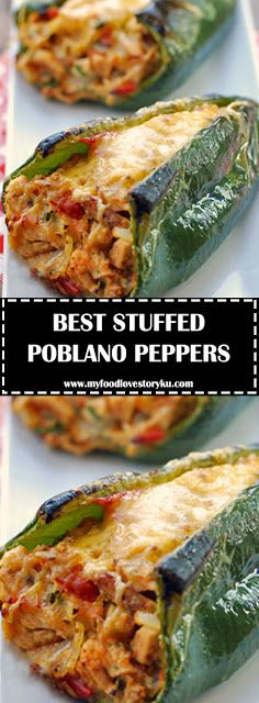 Oven baked chicken stuffed poblano peppers are delicious, gorgeous, and healthy. Roasted Poblano Peppers, Stuffed Poblano Peppers, Recipe With Poblano Peppers, Stuffed Pablano Pepper Recipe, Stuffed Pepper Recipes, Stuffed Chicken Recipes, Poblano Chicken, Stuffed Poblanos, Chicken Stuffed Peppers