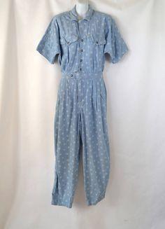 Vintage Denim White Print Short Sleeve Cotton Jumpsuit by Liz