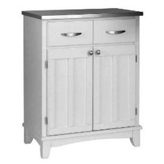 Home Styles 5001-0023 - White Wood Buffet w/ Stainless Steel Top