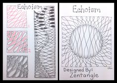"""An official Zentangle Tangle pattern... This is another tangle pattern I'm working on in Day 10 of """"One Zentangle a Day."""" I plan on backtracking to create the step outs for all the other tangles I have been learning. I think it will help me improve, plus it will give me a handy dandy reference guide in my binder. I hope it will assist me in my journey to become a CZT (June 2014)!  I drew this step out on an ATC. This photo combines the front and back of the card."""