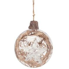 HANG ON Clear glass bauble with straw 10 cm - Baubles