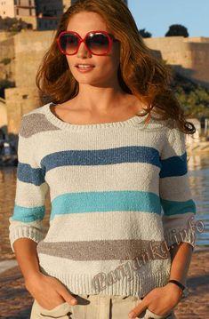 Пуловер в полоску (ж) 11*161 Bergere de France №4572