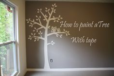 This is a time lapse video of how we made our sons nursery room. We used blue tape to make the tree and leaves. We used paper to cut out a stencils for the o...