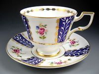 Royal Tuscan Vintage Cobalt Blue and Roses Gold Accented Tea Cup and Saucer