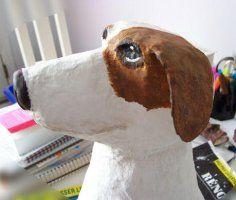 papier mache hondenkop