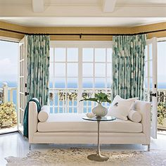 Master bedroom sitting area in Pacific Palisades with an amazing ocean view. Coastal Living.