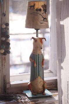 Купить Лампа Фокстерьер - собака, фокстерьер, светильник, ночник, настольная лампа, папье-маше, масло