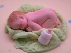 Just Born/Fondant Cake Toppers/Baptism Birthday Christening Baby Shower Cake Topper/Fondant and Gumpaste Toppers