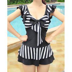 striped swimsuit  $10.19  nu goth pastel goth goth gyaru kawaii fachin swimsuit bathing suit swimwear under20 under30 striped rosewholesale