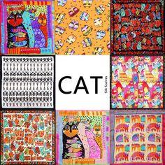 100%ผ้าไหมผ้าพันคอผู้หญิงผ้าพันคอแมวผ้าพันคอ2017 F Oulardผ้าพันคอสัตว์ผ้าไหมผ้าพันคอสี่เหลี่ยมเล็กผ้าพันคอไหมแม�